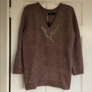 Zara Bird Applique V Neck Sweater